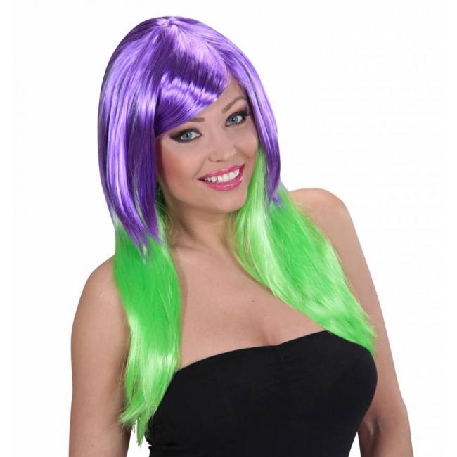 Pruik voor dames met paars en groen haar