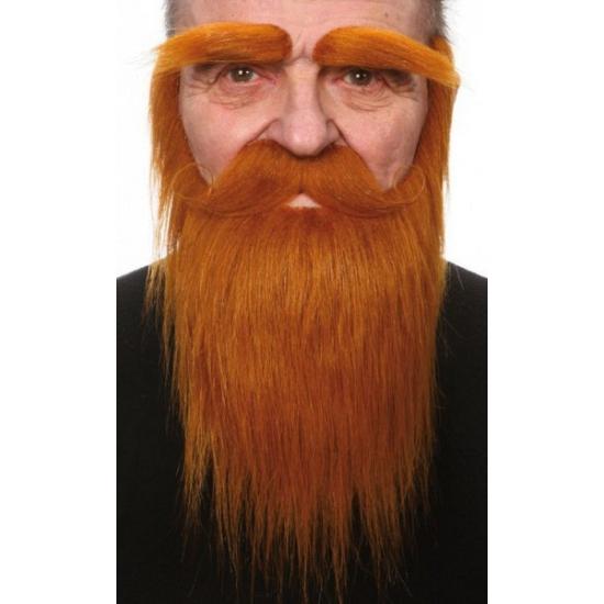 Rode baard, snor en wenkbrauwen