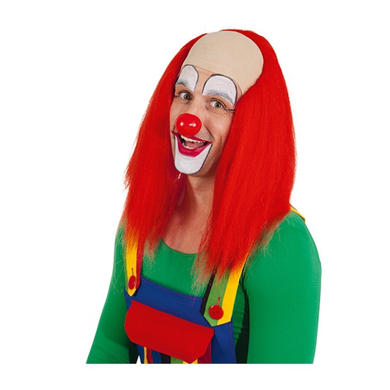Rode clown pruik met hoog voorhoofd