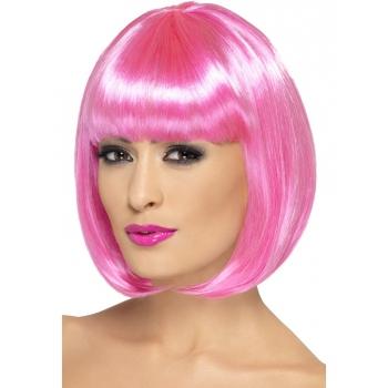 Roze damespruiken met pony