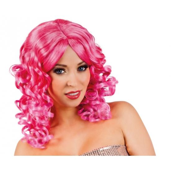 Roze party pruiken met krul