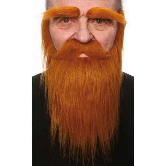 Set met baard, snor en wenkbrauwen rood