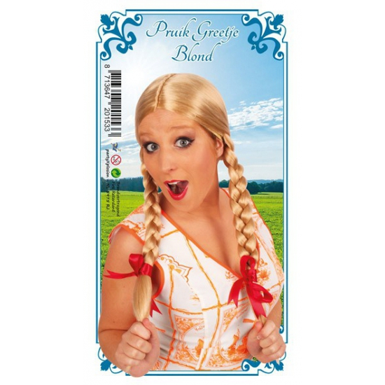 Tiroler pruik blond vlechtjes