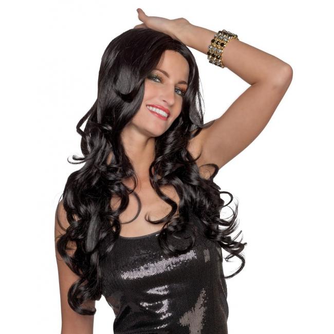 Wasbare pruik met lang zwart haar