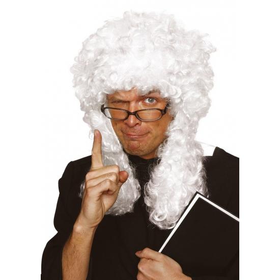 Witte rechters pruik met lange krullen