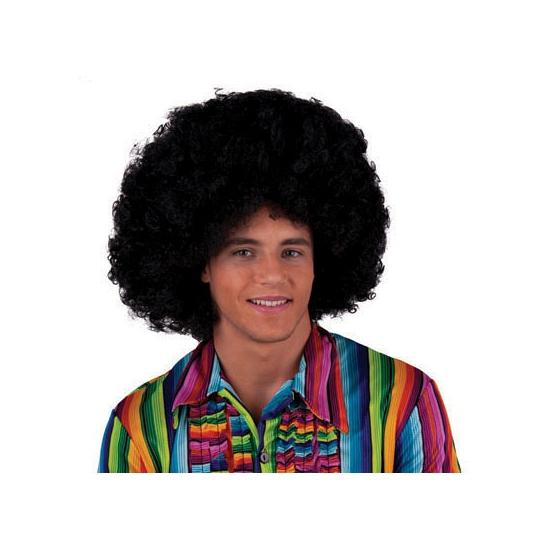 Zwarte afropruik Seventies feest