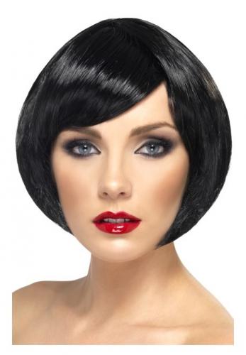 Zwarte damespruik kort model