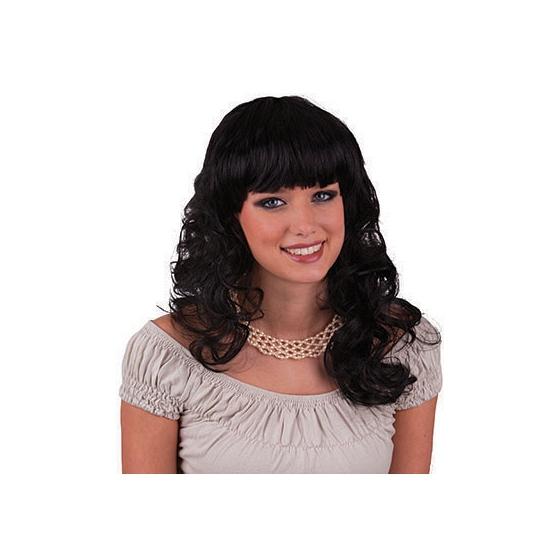 Zwarte krullen pruik lang haar