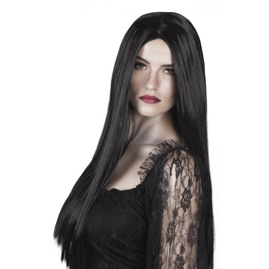 Zwarte lange heksenpruik