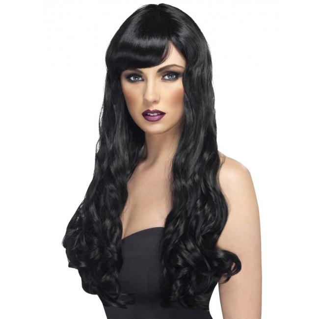 Zwarte pruik met lang haar