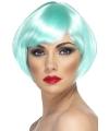 Aqua blauwe damespruik kort haar