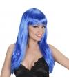 Blauwe damespruik met lang stijl haar