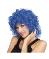 Blauwe krullen pruik