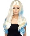 Blonde damespruik met blauwe dip dye