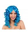 Glamour damespruik blauw met krullen