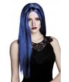 Halloween heksenpruik lang haar blauw zwart