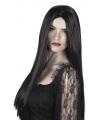 Halloween heksenpruik lang zwart haar