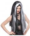 Heksenpruiken lang zwart grijs