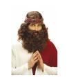 Jezus pruik bruin met baard
