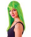 Lange neon groene damespruik met pony