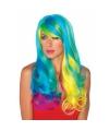 Lange regenboog pruik met golvend haar