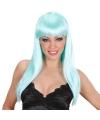 Lichtblauwe damespruik met lang haar