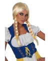 Oktoberfest blonde damespruik met lange vlecht