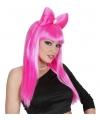 Roze lady gaga look a like pruik