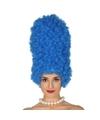 Blauwe suikerspin pruik voor dames